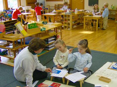 Montessori students often work on the floor